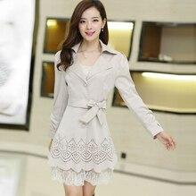 Women Trench Coat 2016 Korean autumn winter Windbreaker loose lace  trench coat Elegant designer outwear