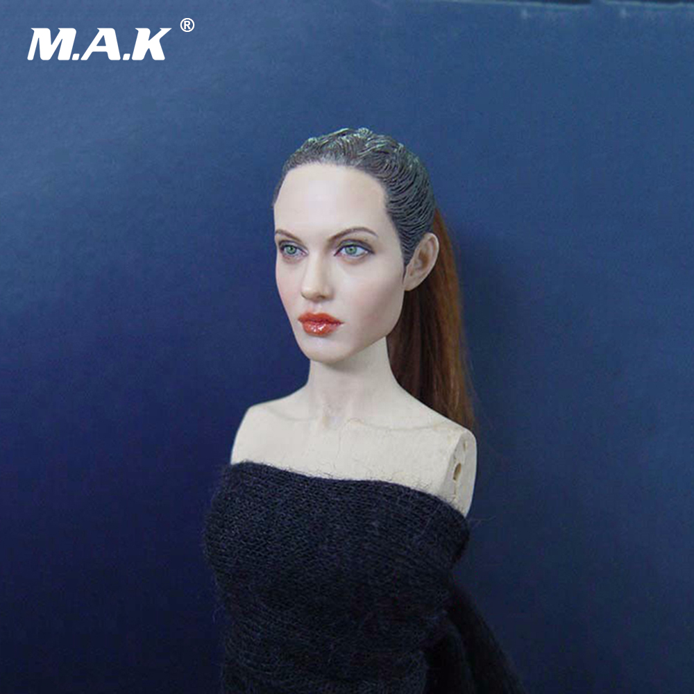Woman Star Angelina Jolie 1/6 Female Head Sculpts KM36 Model Toys For 12 Action Figure Body Accessory 1 6 scale head sculpt km36 angelina jolie head 12 female action figure doll head carving model toys