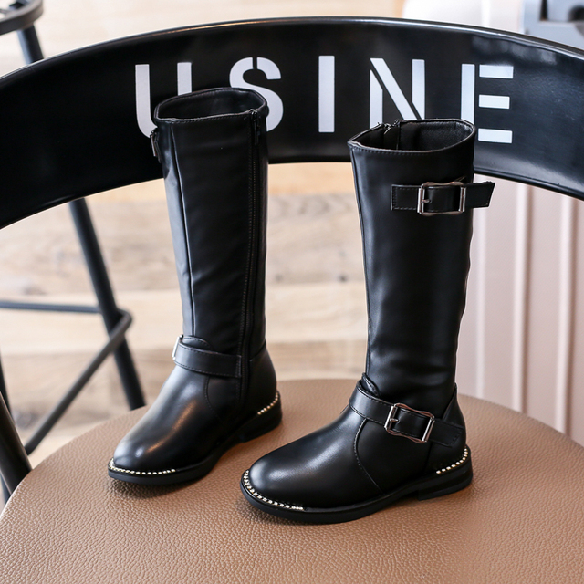 Nauhutu Luxury Rhinestone Border Children Ridding Boots For Girls