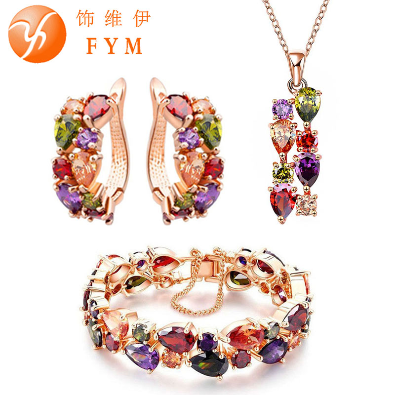 FYM fashion Mona Lisa Rose Gold Color Jewelry Sets for Women Colorful Crystal Necklace Earrings Bracelet Multicolor Jewelry Set viennois new blue crystal fashion rhinestone pendant earrings ring bracelet and long necklace sets for women jewelry sets