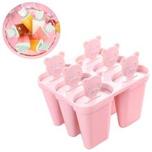 Ice Lolly Molds Maker Form DIY Cute 6 Cavity Bear Mold Popsicle Yogurt Box Fridge Frozen Cream Tools