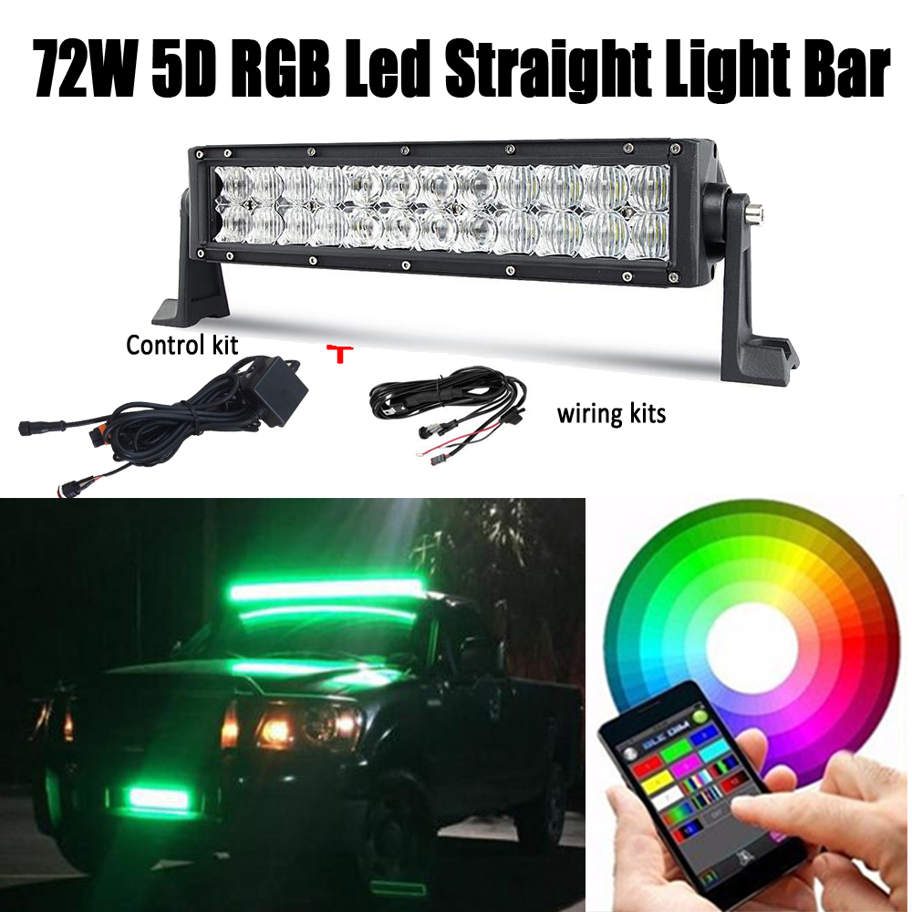 14 INCH 72W 5D Lens LED Light Bar Spot Flood Combo For CREE Chips RGB Strobe Music Controlled Bluetooth & Wiring Harness kits