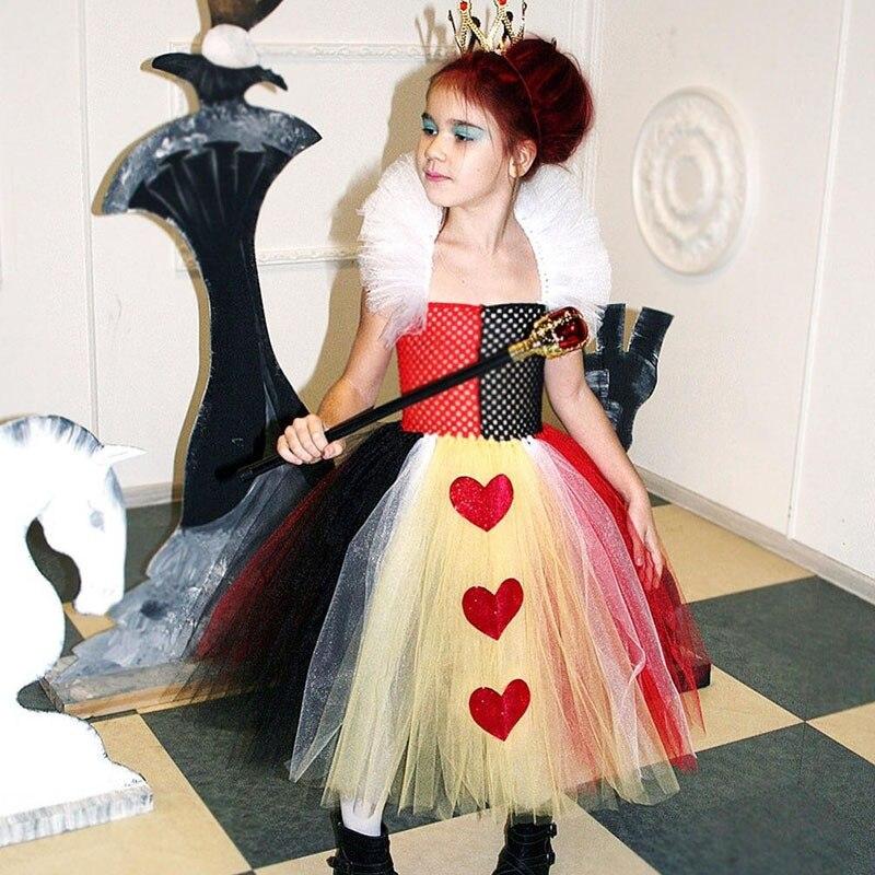 Fancy Dress Up Queen of Hearts Alice In Wonderland Anime Cartoon Character Girl Halloween Party Costumes for Tweens Girl Cosplay все цены