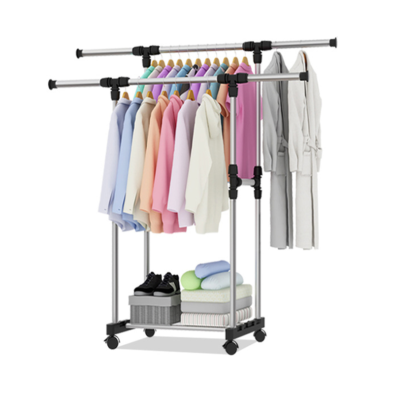 Stainless Steel Coat Rack Double Rod Indoor Adjustable Easy Moving Drying Rack Storage Shelf Simple Clothes Hanger With Wheels