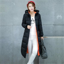 2016 New Winter Down Cotton Jacket Parka Women Slim Thicken Warm Wadded Jacket Hooded Big Yards Long Winter Coat Outerwear A1218