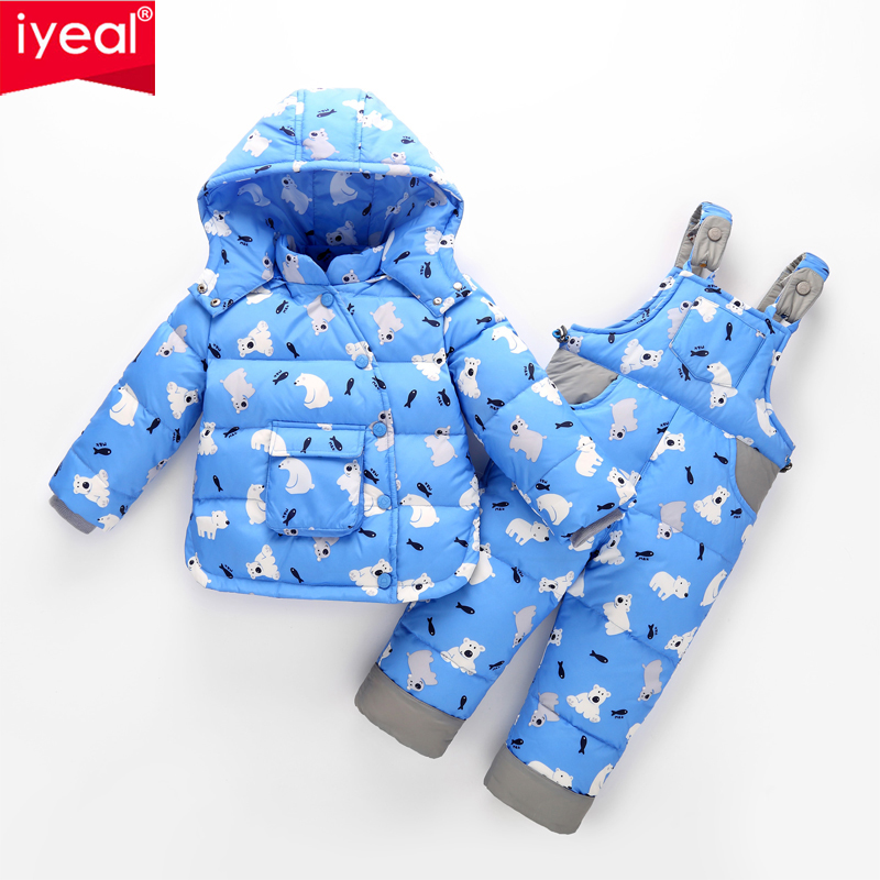 где купить IYEAL Winter Down Jackets For Boys Girls Kids Snowsuit Children Clothes Baby Warm Outerwear Coat+Pant Clothing Set for 1-4 Years дешево
