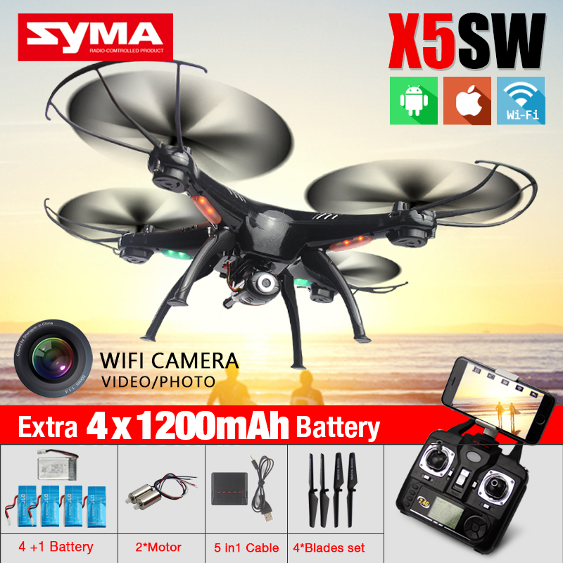 High-Quality Syma X5SW WIFI FPV Quadcopter Drone with Camera 2.4G 6-Axis FPV Drone RTF RC Helicopter with 5 Battery + 5in1 cable