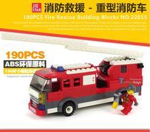 190PCS Fire Fight Series Fire Engine kid Building Block Sets Model Enlighten Educational DIY Construction Bricks