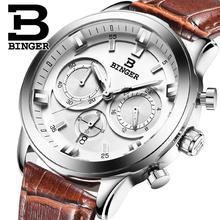 2016 hombres de relojes de lujo BINGER cuarzo de la marca completa de acero inoxidable Relojes de Suiza Cronógrafo Diver glowwatch B9011-3