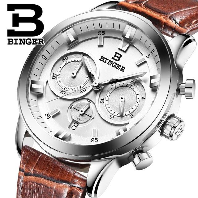 2017 Switzerland luxury relogio masculino BINGER brand quartz full stainless clock Chronograph Diver glowwatch B9011-3
