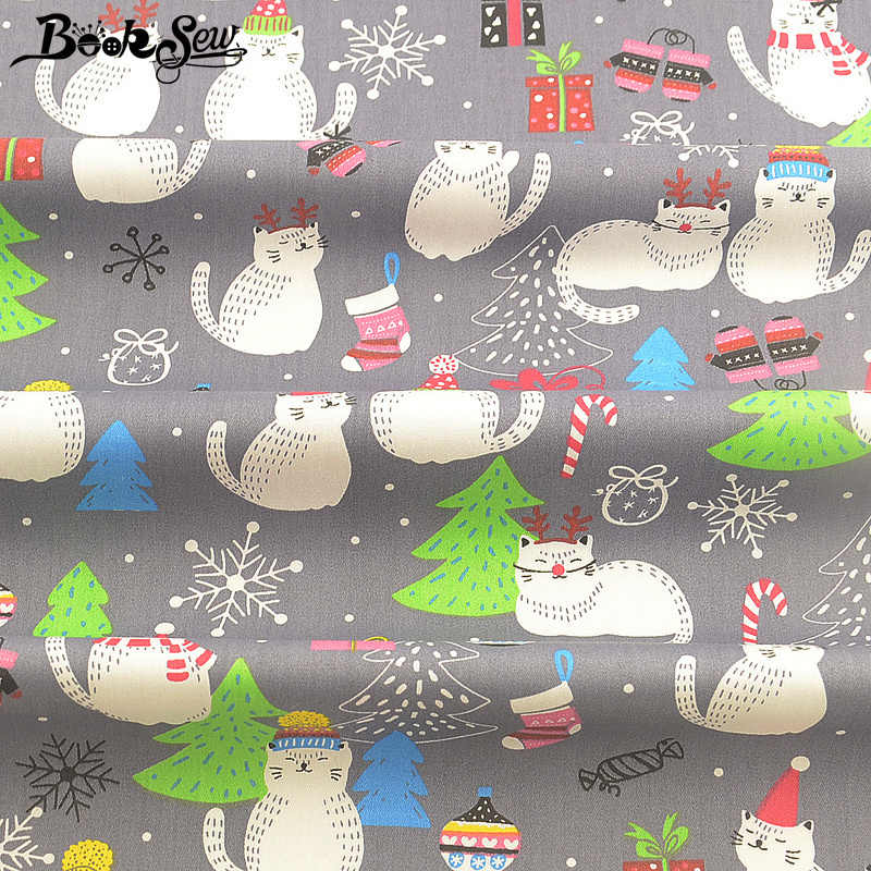 Booksew Baby Fabric Dye 100% Cotton Gray Tissue Fat Quarter Patchwork Sewing Material Textile Printed Christmas Cartoon Cat Type