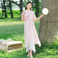 Women China Style Print Stand Collar Short Sleeve Soft Cotton Linen A Line Maxi Dress Fashion New Pink Casual Clothes