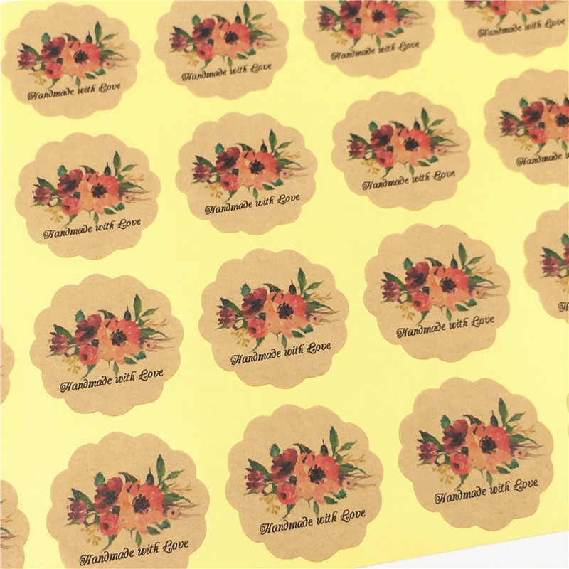300 Pcs 3cm Kraft Paper Handmade Gift Stickers Pack Candy Cookie Soap Packaging Bags Cupcake Wrapper Self Adhesive Gift Bag