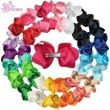 XIMA/1 шт., розничная, 4 дюйма, лента с бантами, Детский двойной бант с заколками для волос для девочек, аксессуары для волос, заколка для волос, 20 цветов