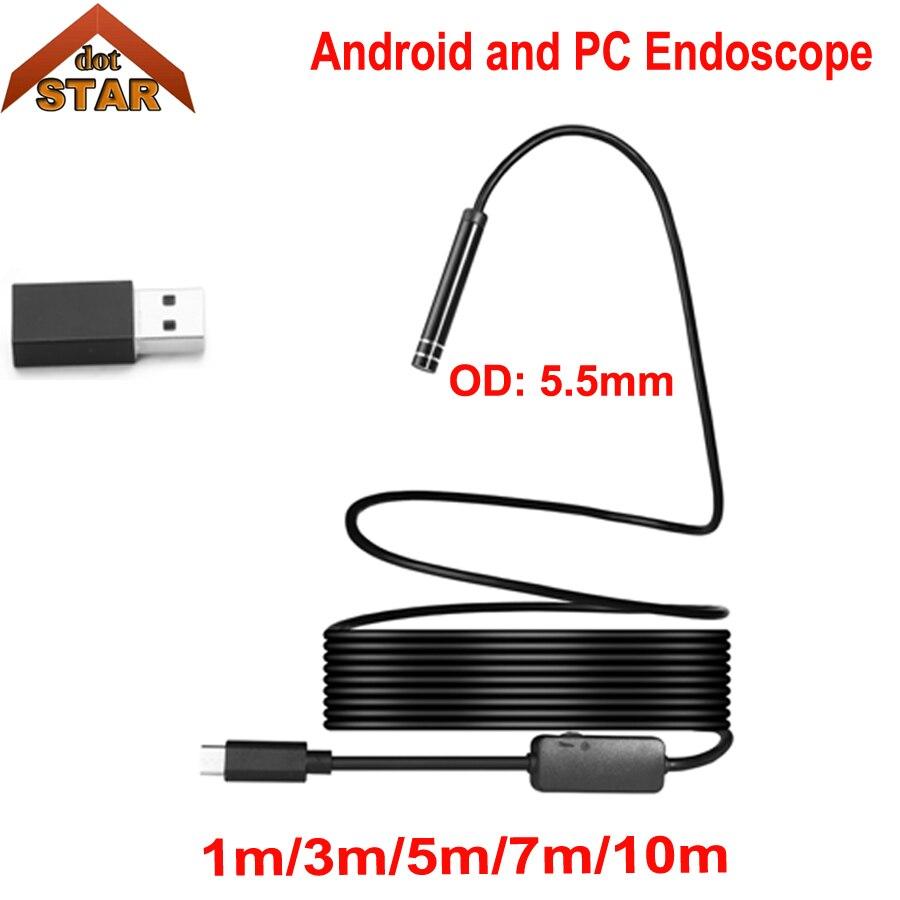 Stardot Android USB эндоскопа Камера 5.5 мм 1 м/3 м/5 м/7 м/10 м Тип C HD трубы usb эндоскопическая инспекции ПК Android бороскоп Камера