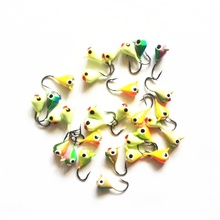 30Pcs/lot Assorted Colorswinter Ice Fishing Lure 1.5cm1.1g Mini Lead Fish Ice Fishing Bait Metal Lead Head Hook Artificial Bait