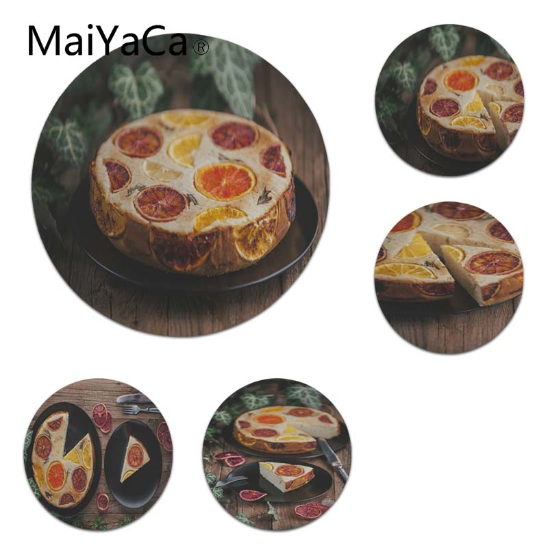 Maiyaca New Designs Fruit Cake On Wooden Table Mouse Pad Gamer Play