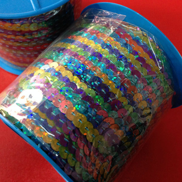 ( High-temperature ! ) 6MM/w 100Y/pc Pvc Sequins Paillette Spangle Multi Color String Jewelry Rope & Cord Jewelry Findings