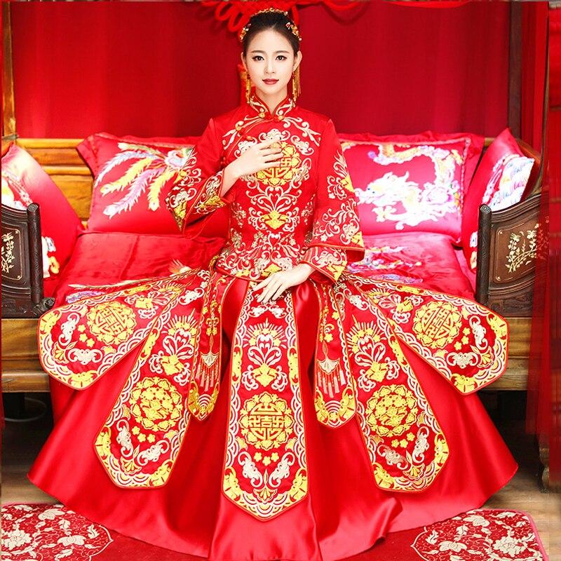 Винтаж Красный вышивки Cheongsam современный Традиционный китайский стиль свадебное платье Oriental Для женщин длинные Qipao Vestidos Размеры S XXL
