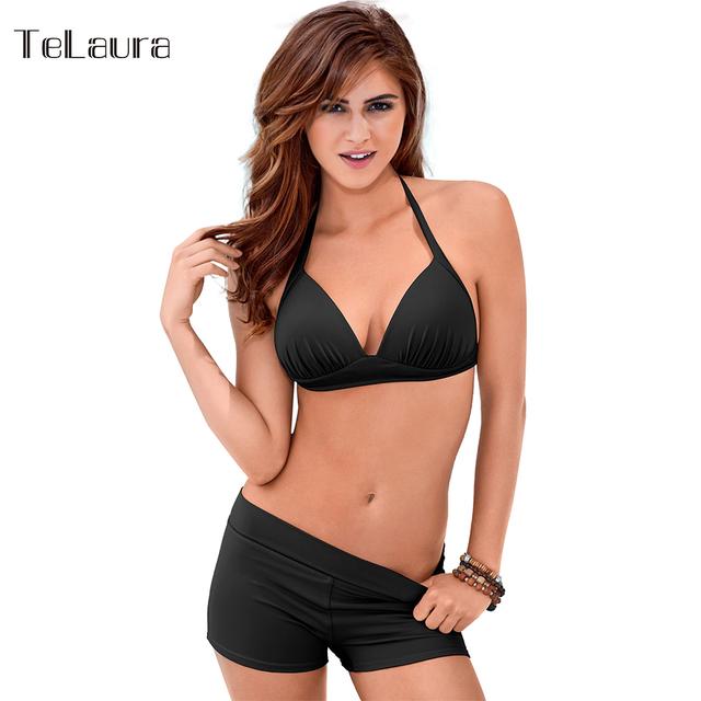 Bikini 2017 Plus Size Swimwear Women Retro Bikini Set Push Up Swimsuit Solid Beach Wear Biquini Halter Top Vintage Bathing Suit