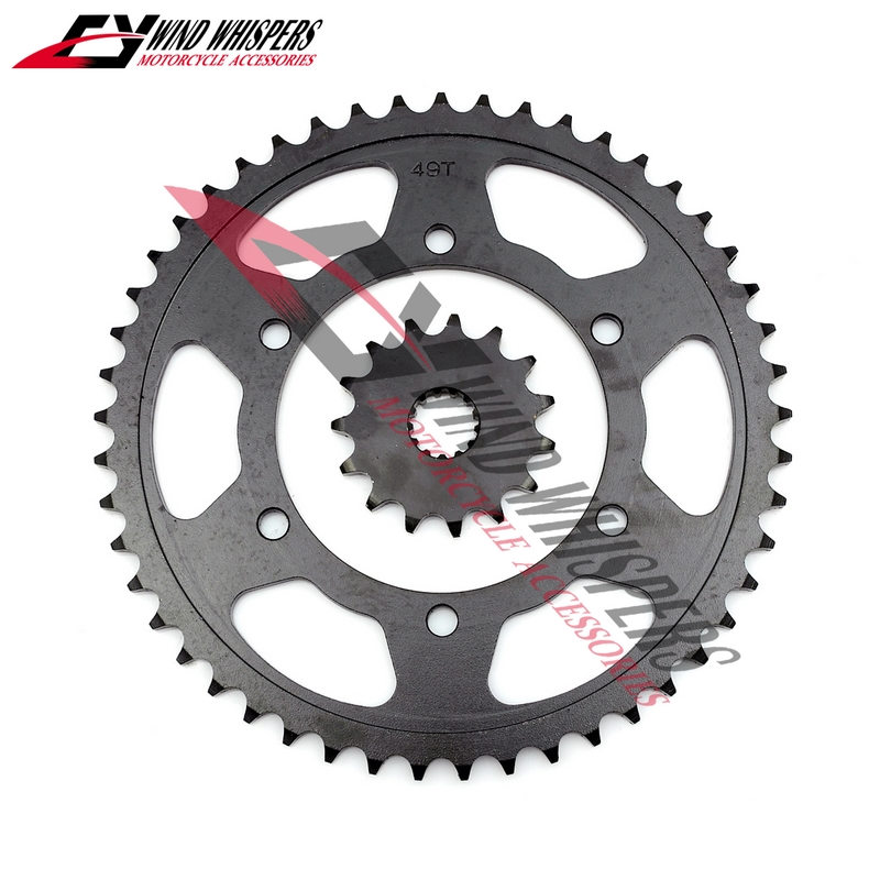 Motorcycle Front Rear Sprocket geartransmission For Kawasaki ZZR400 ZZR 400 530 black 49T