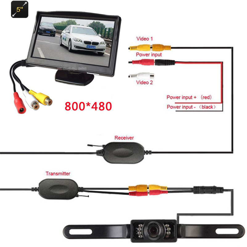 5 TFT Car Monitor Car TFT LCD Screen with 2.4g WIRELESS Car Rear View System Backup Reverse Camera 7 LED Night Vision Cam