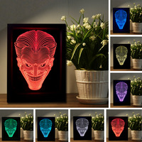 Luminaria 7 Colors Change 3D Baby Smiling Face Jack Ghost Photo Frame Night Light Table Desk