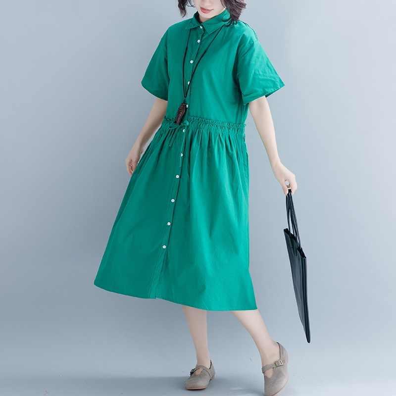 Черный хлопок белье Старинные Большие размеры женские повседневные Длинные свободные летнее солнце платье-футболка элегантная одежда 2019 женские платья Сарафан