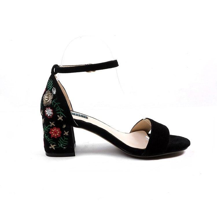 L34 Negro Peep Bordado Sandalias Lenkisen Altos Oriental Hebilla Gamuza Zapatos Toe Ocio Mujeres Vendimia Étnico De Correas Tacones Las Retro FFXwUHxqP