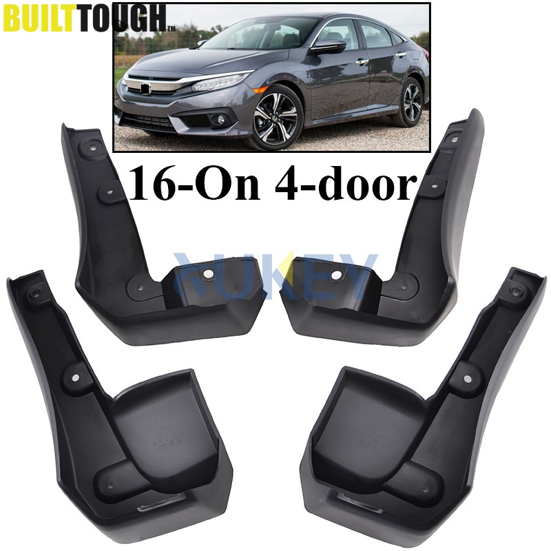 FOR HONDA CIVIC 2016 2017 2018 2019 ALL NEW 4 DOOR SEDAN MUDFLAPS MUD FLAP FLAPS SPLASH GUARD MUDGUARDS FRONT REAR FENDER MOLDED-in Mudguards from Automobiles & Motorcycles
