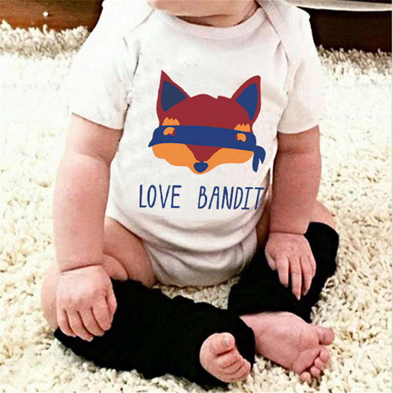 Fox Love Bandit Letter Children s Clothing Wholesale Baby Romper Baby Boys Girls Clothes Casual Outfit