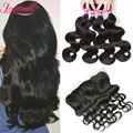 7A Brazilian Body Wave With Lace Frontal Closure Unprocessed Body Wave Human Hair Full Frontal Lace Closure 13x4 With 4 Bundles