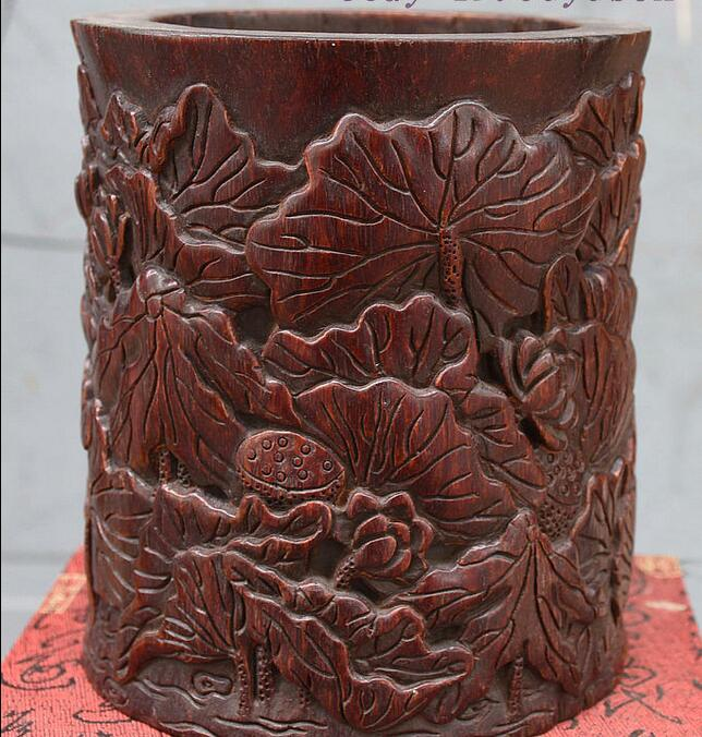 China Rosewood Wood Hand Carved Lucky Lotus Flowers Brush Pot Pencil