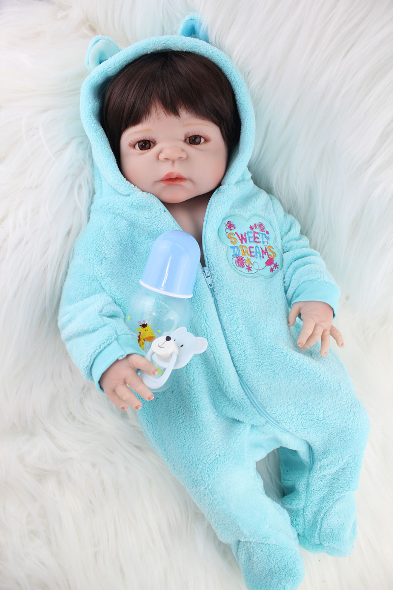 55cm Full Body Silicone Reborn Boy Baby Doll Toys Newborn Babies Doll Birthday Gift Children Bathe Toy Girls Bonecas Brinquedos full silicone body reborn baby doll toys lifelike 55cm newborn boy babies dolls for kids fashion birthday present bathe toy