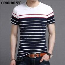 COODRONY Soft Cotton Short Sleeve T Shirt Men Streetwear Fashion Casual Striped Tshirt 2019 Summer New O-Neck T-Shirt S95088