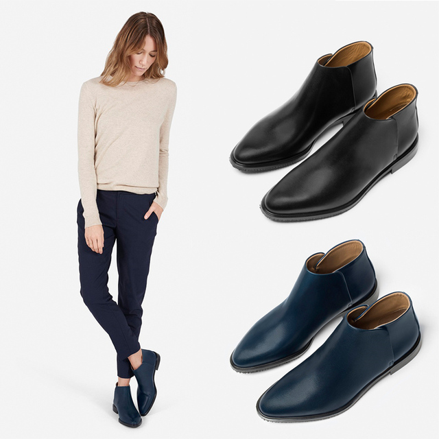 Trendy Navy Genuine Leather Womens Casual Flat Heels Pointed Toe Ankle Boots Winter Shoes