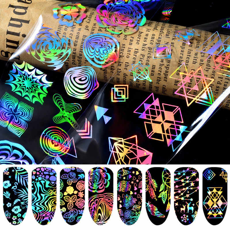 Hot Koop 8 Rolls Holografische Nail Folie Dream catcher Geometrische Nail Art Transfer Sticker Adhesive Manicure Nail Art Tips Decals