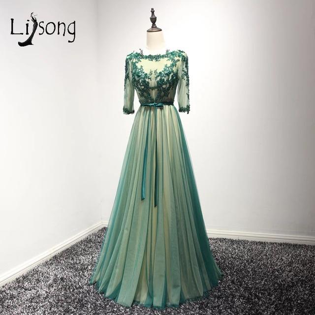 Elegant Emerald Green Mother Of The Bride Dresses Three Quarter Sleeves Liques Formal Party Dress Vestido