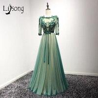 Elegant Emerald Green Mother Of The Bride Dresses Three Quarter Sleeves Appliques Formal Party Dress Vestido De Madrinha A104