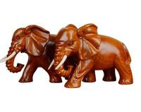 Yellow flower pear solid wood sculpture a pair of elephants set large fortune furniture cr home decoration statue factory direct