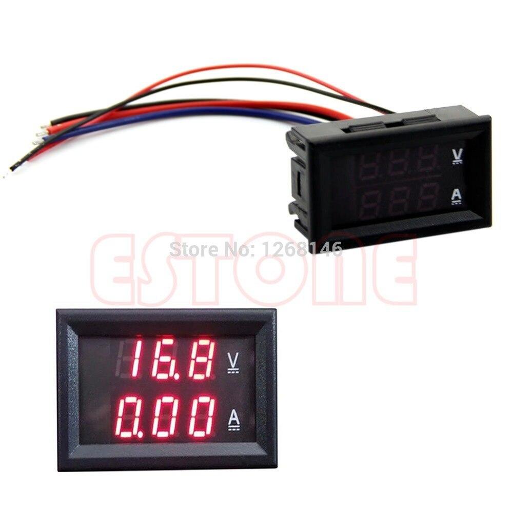 Nice CC 100V 10A voltímetro amperímetro rojo LED Panel Amp doble voltímetro Digital