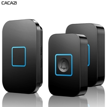 CACAZI Intelligent Wireless Doorbell Waterproof LED Light 300M Remote US EU UK Plug Home Calling Bell 1 Button 1 2 Receiver 2017 cacazi white eu us uk plug wireless doorbell waterproof long range door bell 1 outdoor transmitters 1 indoor receiver