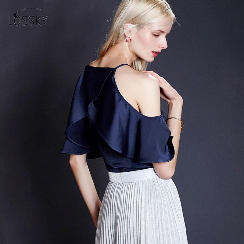2018 Hot Sale Blusa Women Tops New Summer Lotus Leaf Sleeve Sexy Chiffon Shirt Word Collar Strapless Wild Bottom Small Strap