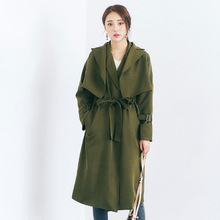 [TWOTWINSTYLE] 2017 Autumn Winter New Women Vest Dress Drawstring Waisted + Trench Coat Female Fashion