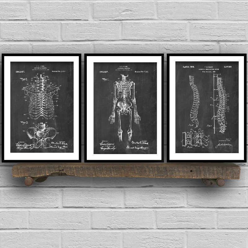 Human Anatomy Skeleton Wall Art Canvas Painting Vintage Posters and Prints Medical Student Education Gift Doctors Office Decor