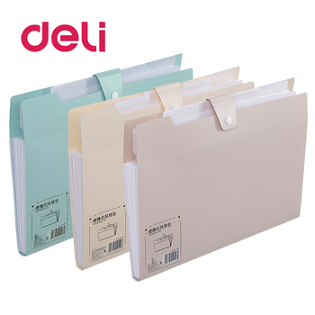 Deli A4 Paper Expanding Wallet Document Filing Stationery Bag School Office Supply Durable Briefcase PVC File Folder Stationery fashion portable expanding file folder a4 paper folder for documents quality office document briefcase