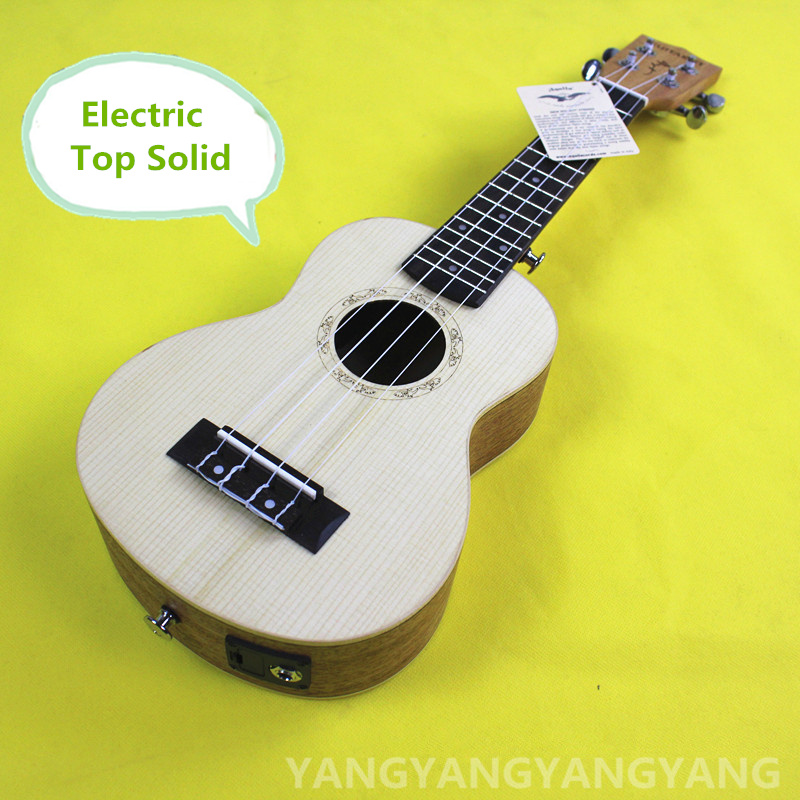 Top Solid Soprano Acoustic Electric Ukulele 21 Inch Mini Guitar 4 Strings Mahogany Picea Asperata Ukelele Guitarra Handcraft Uke electric ukulele acoustic solid top only 4strings guitar ox bone nut mahogany body red tortoise shell celluloid binding ukelele