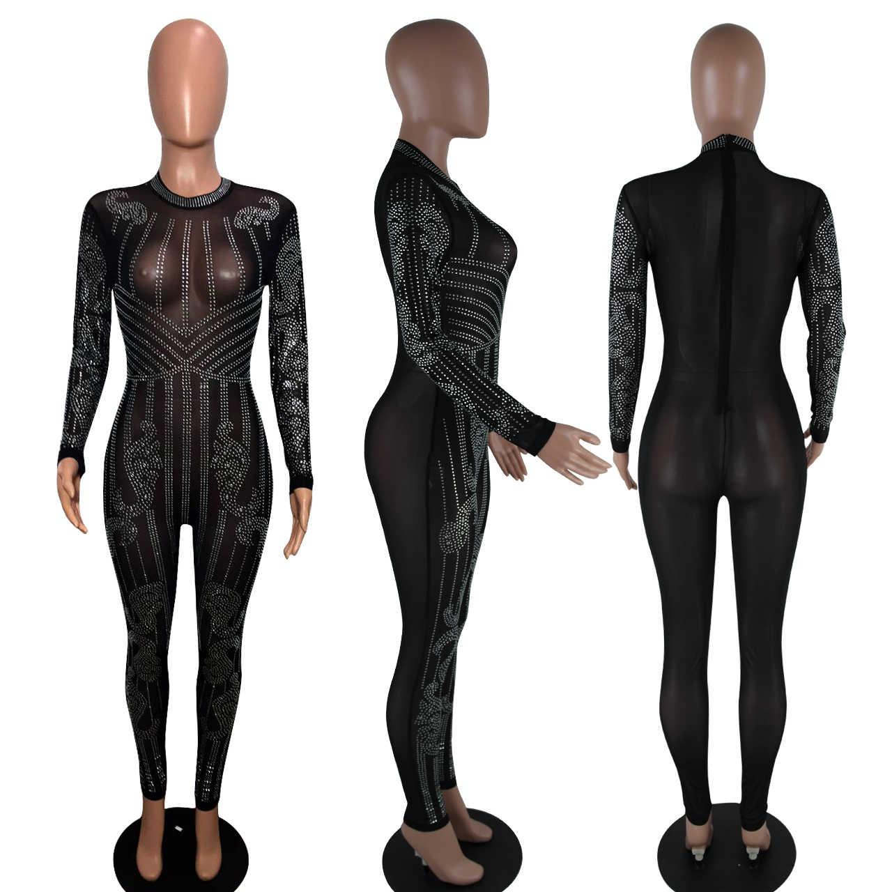EDressU/2019 сексуальные популярные Комбинезоны черные прозрачные комбинезоны женские костюмы с блестками Клубная одежда для вечеринок ME-Q034
