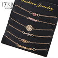 17KM New Multilayer Gold Color Crystal Cross Bracelets Set Brand Beads Love Bangle Bijoux Fashion Jewelry Tassel Charm Pulsera