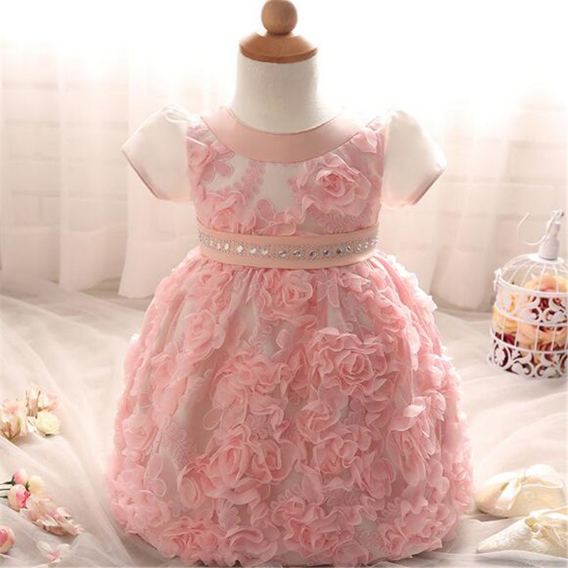 2016 lovely Wedding Party Dress Baby girl clothes infant Toddler short sleeve flower bowknot tutu